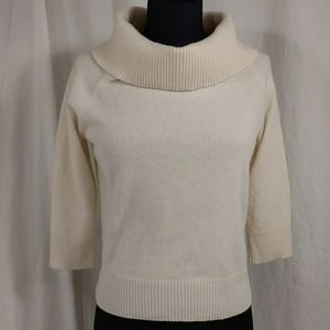 Ivory Cashmere Cowl Pullover Sweater Light weight